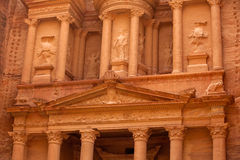 Magnificent facade of Treasury at Petra (Al Khazneh) Royalty Free Stock Photography