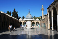 The magnificent first courtyard of the Hazreti Ibrihim Halilullah Prophet Abraham`s Birth Cave in Urfa in Turkey. The magnificent first courtyard of the Hazreti Royalty Free Stock Photos