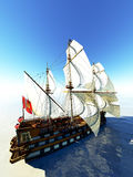 Magnificent French warship. Out in the sea Stock Images