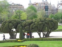 Magnificent garden in Madrid, Spain Royalty Free Stock Image