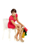 Magnificent girl acquired gifts Royalty Free Stock Photo
