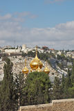 Magnificent gold domes of church in Jerusalem Stock Images