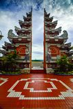 Magnificent and gorgeous red stone traditional gates of Bali Indonesia royalty free stock photography