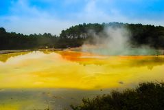 Magnificent and gorgeous volcano crater with yellow lake royalty free stock photos