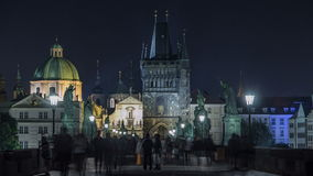 Magnificent Gothic structure called Stare Mesto Tower timelapse on Charles Bridge stock footage