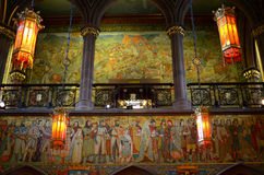Magnificent hall. The William Hole entrance hall frieze; Portrait Gallery, Edinburgh royalty free stock photography