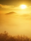 Magnificent heavy mist in landscape. Autumn fogy sunrise in a countryside. Hill increased from fog. Royalty Free Stock Photography