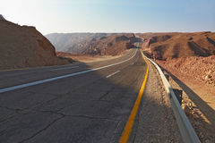 Magnificent highway in desert of Eilat Royalty Free Stock Photos