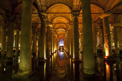 The magnificent interior of the Basilica Cistern in the Sultanahmet district of Istanbul in Turkey. Stock Image