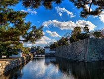 Walls, moat and a Vivid Blue Sky in Kyoto royalty free stock image