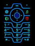Magnificent keypad. Of cell phone in dark Stock Image