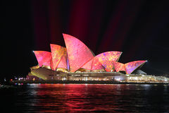 Magnificent landmark, Sydney Opera House in pink hues Royalty Free Stock Photos