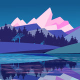 Magnificent landscape with mountains. And forest by the river on a blue background Royalty Free Stock Image