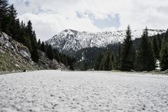 Magnificent landscape with rocky Mountain from the asphalted road. Forest in Montenegro snow peak. Wonderful, empty, national, snowy, outdoors, highway stock photo