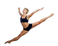 Magnificent leap. Attractive dancer leaping isolated on a white background, shot in studio Stock Image