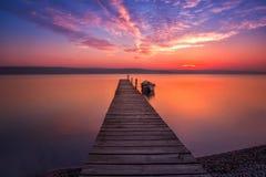 Magnificent long exposure sunset. Stock Photos