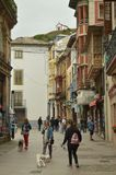 Magnificent Main Street With Picturesque Buildings In Luarca. stock photography
