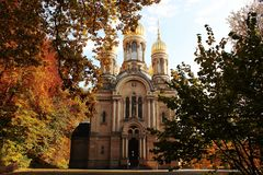 Magnificent majestic orthodox church with golden domes in Wiesbaden. Traveling in Germany. Outdoor. Selective focus royalty free stock images