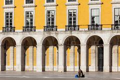 Magnificent manueline style architecture of the royal palace buildings. Surrounding the Praca Do Comercio, the largest public square in Portugal called the Royalty Free Stock Images