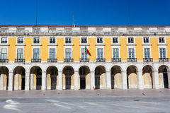 Magnificent manueline style architecture of the royal palace buildings. Surrounding the Praca Do Comercio, the largest public square in Portugal called the Stock Photos
