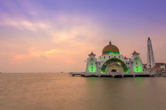 Magnificent Masjid Selat Melaka Mosque with dramatic sunset Stock Photography