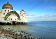 Magnificent Masjid Silat Mosque. The iconic Masjid Silat mosque off the reclaimed islet of Pulau Melaka in Malacca, Malaysia Royalty Free Stock Photo