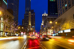 Magnificent Mile Traffic Stock Photo