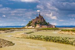 Magnificent Mont Saint Michel cathedral on the island, Normandy, Northern France, Europe stock photography