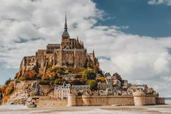 Magnificent Mont Saint Michel cathedral on the island, Normandy, Northern France, Europe stock photo