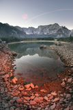Magnificent morning of the lake Fusine royalty free stock image