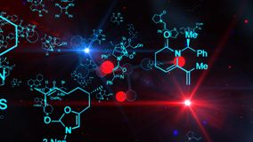 Magnificent Multicolored Molecule Illustration. An exciting 3d illustration of black and red molecule structures on the black background with sparkling spots Royalty Free Stock Photo