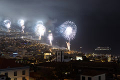 Magnificent New Year fireworks in Funchal, Madeira Island, Portugal Stock Image