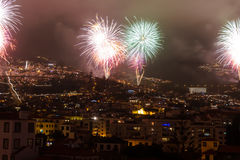 Magnificent New Year fireworks in Funchal, Madeira Island, Portugal Stock Photography