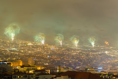 Magnificent New Year fireworks in Funchal, Madeira Island, Portugal Royalty Free Stock Images