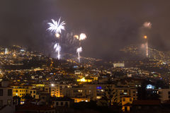 Magnificent New Year fireworks in Funchal, Madeira Island, Portugal Royalty Free Stock Photos