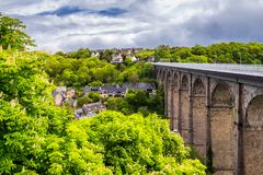 The magnificent old city of Dinan. Concept of Europe travel, sightseeing and tourism. Brittany (Bretagne), France royalty free stock photos