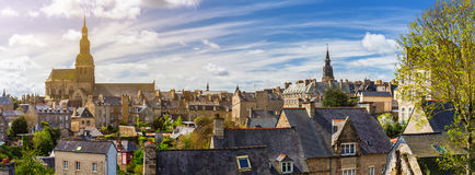 The magnificent old city of Dinan. Concept of Europe travel, sig Stock Photography