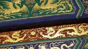 Magnificent Painted Carved beam girders.China Beijing ancient architecture. stock video