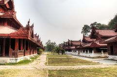View over Mandalay palace in Myanmar. The magnificent palace in the center of Mandalay in Myanmar royalty free stock photo