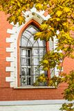 Window of the side semicircular annexe of the Petroff palace, Moscow, Russia. Stock Photo