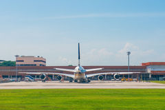 Magnificent palace zenithAirplane sits on the private runway Royalty Free Stock Photos