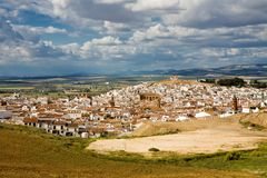 Magnificent panorama of Alora town in Andalusia Stock Images