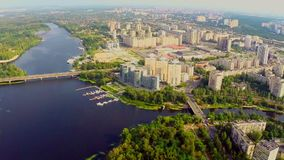 Magnificent panorama of large city, river and buildings aerial. Stock footage stock video footage