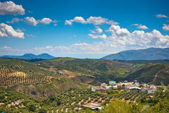 Magnificent panorama of small town in Andalusia Royalty Free Stock Images