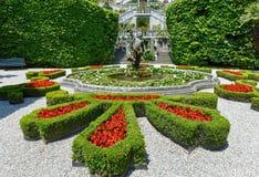 Magnificent park with fountains (Villa Carlotta, Italy, Lake Com Stock Photo