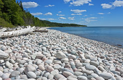 Magnificent Pebble Beach, Ontario, Canada. Striking summer scenery along Lake Superior at Pebble Beach near Marathon, Ontario, Canada royalty free stock image