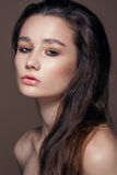 Magnificent portrait of a beautiful young woman with perfect skin closeup Royalty Free Stock Images