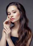 Magnificent portrait of a beautiful young woman with perfect skin closeup Royalty Free Stock Image