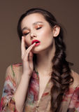 Magnificent portrait of a beautiful young woman with perfect skin closeup Royalty Free Stock Photos