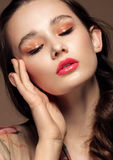 Magnificent portrait of a beautiful young woman with perfect skin closeup Stock Image